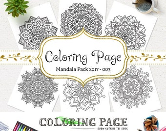 SALE Printable Coloring Pages DIY Coloring Page Floral Mandala Adult Coloring Book Art Therapy Instant Download Geometric Printable Wall Art