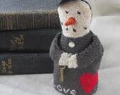 Punch Needle Pattern ~ Valentine Snowman ~ punchneedle pdf pattern ~ needle punch epattern ~ Valentine Punch Needle ~ Heart Punch Needle