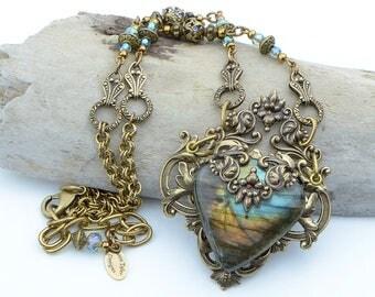 Labradorite Necklace For Women, Romantic Jewelry For Her, Labradorite, Best Necklace Gift For Wife, Romantic Necklace Gift For Girlfriend