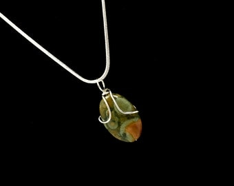 Wire Wrapped Necklace Rhyolite Statement Jewelry Handcrafted Natural Stone Jasper Pendant Silver Jewelry Christmas Gifts Stocking Stuffer