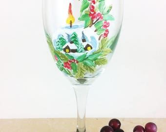 Christmas Glass, Holiday glassware, Winter wine glass, winter gift, custom glasses, Wine lover gifts, painted wine glass, Best wine Glasses