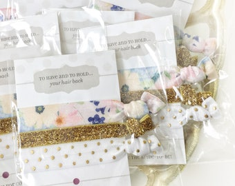 Bridal Shower Favors, Bachelorette Party Hair Ties, Floral Hair Tie Favors White and Gold, Hen Party Favours, Bridal Shower Gifts for Guests
