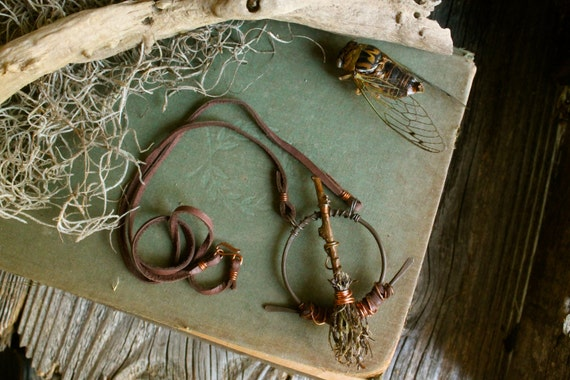 Swamp Witch Broom Pendant made with Muscadine Vine and Spanish