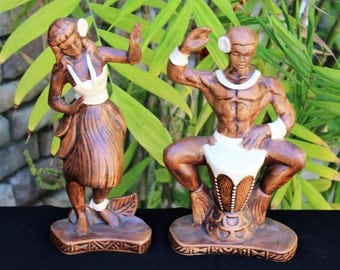 Vintage 1959 Treasure Craft HAWAIIAN Ceramic HULA Figurines Drummer & Hula Dancer 10 1/2""