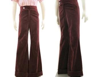 Vintage 70s Velvet Pants Bell bottom Cuffed Red 33 34