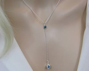 Blue Topaz Y Necklace, Sky Blue Topaz Gemstone, London Blue Topaz Jewelry, Lariat Necklace, Bride, Bridesmaid Necklace, Sterling Silver