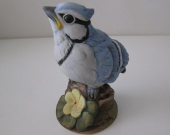 Blue Jay - Andrea by Sadek #6350, Porcelain Hand painted Bird, Japan