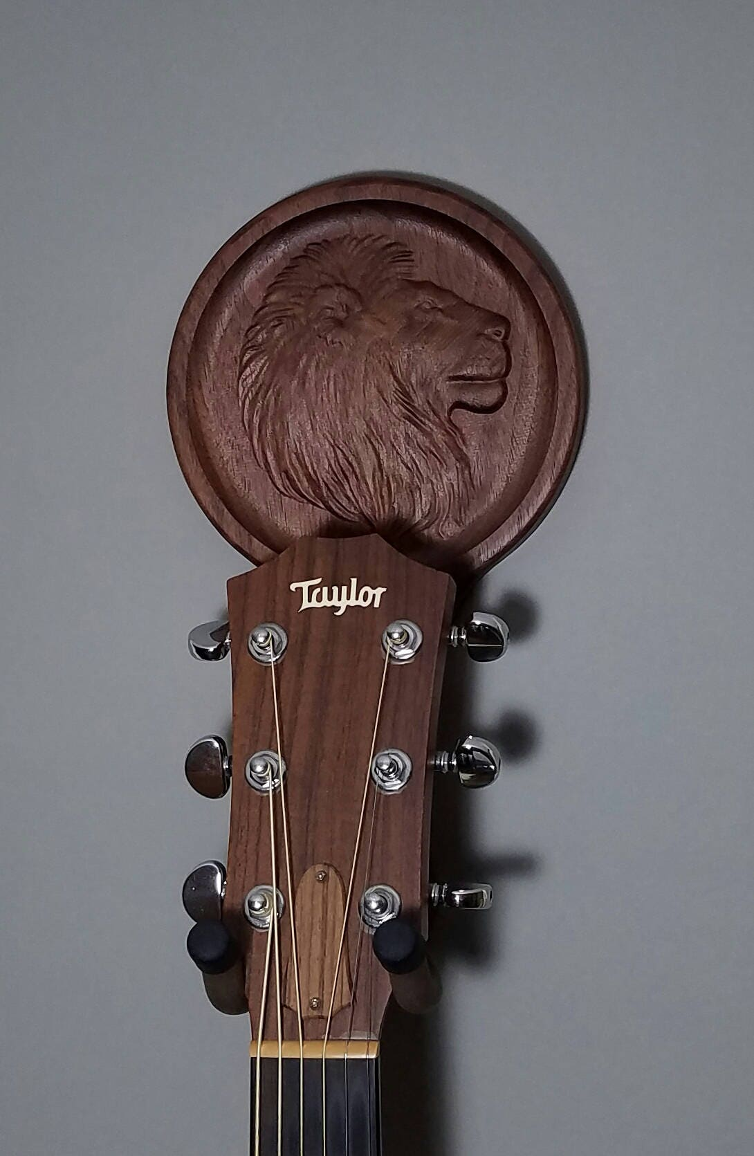 Lion guitar hanger unique wood carved wall art head