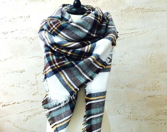 Gift For Her, blanket scarf, chunky scarf, oversized scarf, winter scarf, scarf, christmas gift for her, plaid scarf, blanket scarf wool