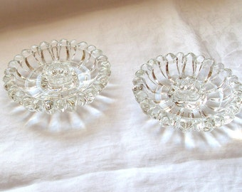 A Pair of Vintage Daisy Candlestick Holders