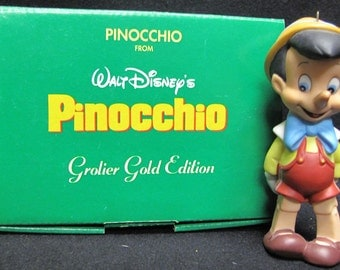 Grolier Gold Edition Pinocchio Ornament from Walt Disney's Pinocchio with Box