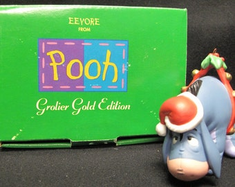 Grolier Gold Edition Eeyore Ornament from Walt Disney's Pooh with Box