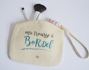 Toilet bag / beauty pouch tissue My messy leather Gift for her Travel by decartonetdetoiles