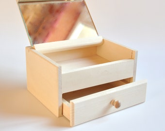 Wooden Box with Drawer and Mirror. Jewelry Box. Unfinished Wooden Box. #TR322