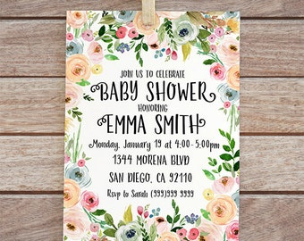 Floral baby shower invitation, digital invite, baby printable invitation, baby shower invite, watercolor flowers invite, baby girl shower 24
