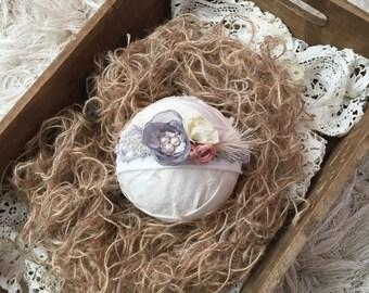 Gray and Blush newborn tieback. newborn photo prop. photo prop. newborn tie back.