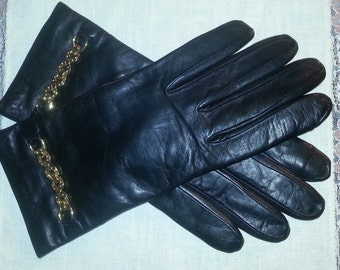 Vintage Leather gloves, cashmere lining, Italy, vintage leather gloves, vintage gloves, size 8 gloves, leather gloves