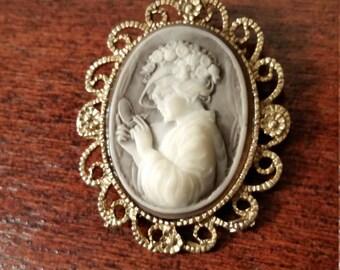 Vintage cameo brooch, vintage brooch, vintage cameo, cameo pin, vintage pin, bouquet brooch, vintage jewelry, 1950's, antique jewelry