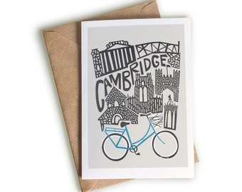 Cambridge City Card, Bicycle Greeting Card, Leaving Card, Graduation Gift, Exams Notecard, UK City Card, Architecture Card, Blue And White