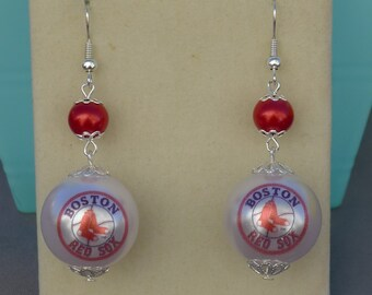 Boston Baseball - Red Glass Ornament Earrings