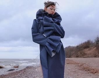 NewSS16 - Women dress - Knee-length dress - Designer items - Festival clothing - Exclusive dress - Flounced dress - PVC - Frilled blue dress