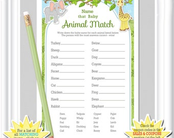 baby animal match game in a theme for your baby shower answers