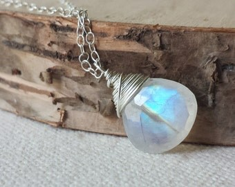 Rainbow Moonstone Necklace, Sterling Silver Necklace, Moonstone Necklace, Small Moonstone Necklace