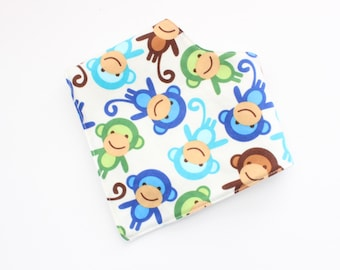 Baby Bandana Bib - monkeys, boys bandanna bib