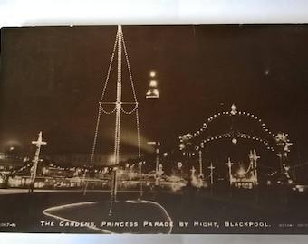 1913 Blackpool Illuminations postcard with green George V halfpenny stamp