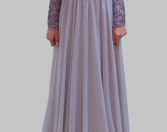 Evening Lace Dress/ Chiffon Dress / Prom Long Dress /Handcrafted with Beads/Romantic Dress/F1002