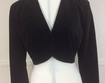 Vintage Black Velvet Jacket Bolero Cropped Edwardian Look Dorothy Perkins Party Ball Equestrian School Mistress c 1980s Made In UK 10