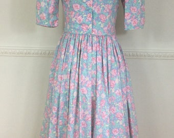 Vintage Laura Ashley Pale Blue Pink Floral Tea Dress Boho Chic Hippy Bohemian Summer Afternoon Tea Garden Party c 1970s 8-10