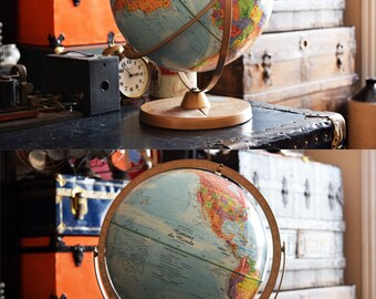 "12"" French Replogle Globe - Vintage Office Supply/Decor - French Language - Nations du Monde - World Globe - Globe Terrestre - Made in USA"