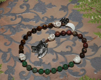 Wolf Pagan Prayer Beads Healing Crystals Meditation Gemstone Metaphysical Crystals Pagan Wiccan Druid Gift Witches Witch Ladder