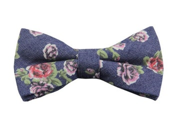 Dark Blue Denim Floral Bowtie.Wedding.Floral Bowties.Gift Ideas.Mens Gifts