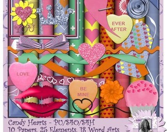 Candy Hearts kit, Digital Scrapbooking kit, digiscrap, scrapbook, paper crafting, card making, home decor, page kit, craft projects, clipart