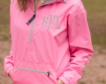 Monogrammed Pullover Solid | Monogram Rain Jacket | Monogram Pullover | Light Weight Jacket | Monogrammed Jacket | Half Zip Hooded Jacket