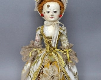 SOLD! Queen Anne doll repro by D.Vistavna, wooden hand-carved doll. Mademoiselle Loison