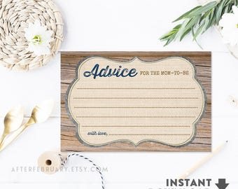 """Rustic Baby Shower Advice Card 4x6"""" (2 Per Page) Brown Wood Farm Baby Shower Activities Boy Printable (Instant Download) No.709NAVY"""