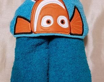 Clown Fish Kids Hooded Towel,Ready To Ship,Personalized Hooded Towel,Hooded Towel,Child's Hooded Towel,Kids Hooded Bath Towel,Birthday Gift