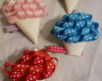 Ice Cream & Cupcake hairclips with Pearl Cherries on top!