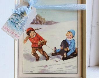 Framed VINTAGE CHRISTMAS PRINT Children Sledding in Snow 1930's (Winter Scene)