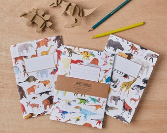 Dinosaurs, Prehistoric and Animals Notebook Set of 3
