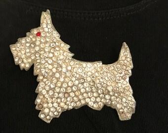 Vintage Rhinestone Scottie Dog Pin