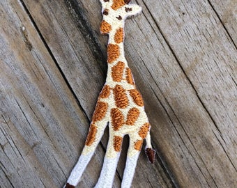Giraffe Patch, Vintage Embroidered Patch, AnimalPatch, Patch, Applique Iron On Patch