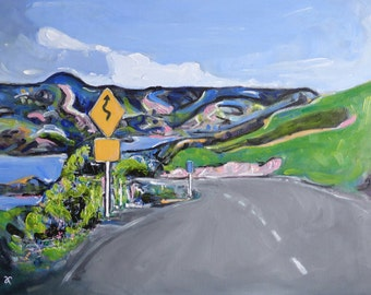 Scenic Road Painting, New Zealand landscape, original art, travel, South Island NZ souvenir, painting on canvas, wall art, free shipping