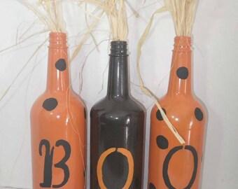 Halloween Boo Bottles ~ Halloween Decor ~ Upcycled Bottles