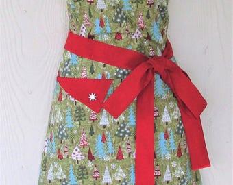 Christmas Apron, Christmas Trees, Women's Full Apron, Retro Christmas Apron, Vintage Christmas, KitschNStyle