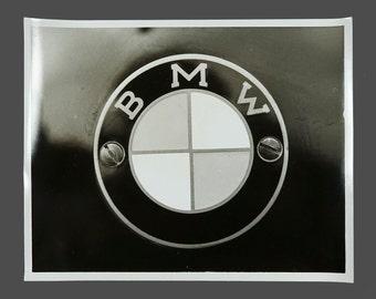1980s B&W BMW Car Logo Photograph Vintage Photo 8 x 10 Professional Photography