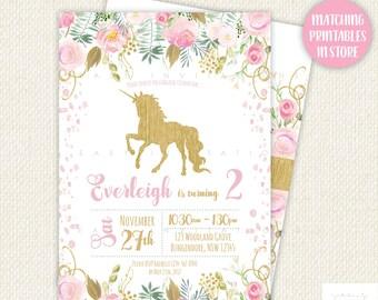 Unicorn Birthday Invitation, Unicorn Invitation, unicorn birthday, unicorn party, unicorn party invitations, unicorn printables, pink gold
